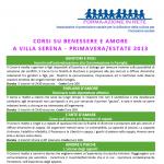 CORSI SU BENESSERE E AMORE A VILLA SERENA – PRIMAVERA/ESTATE 2013